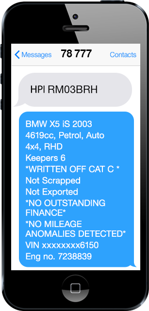 HPI Text Check Example On Phone